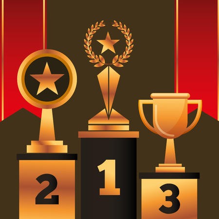 movie awards red ribbons numbers positions winners prizes vector illustration