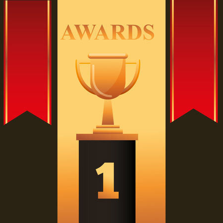movie awards red ribbons number one trophy vector illustration