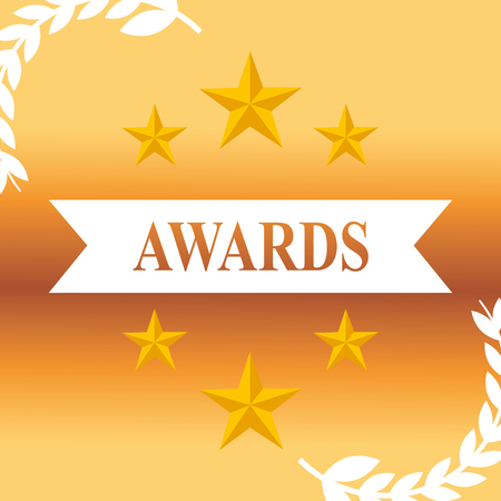 movie awards stars ribbon sign background vector illustration