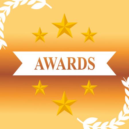 movie awards stars ribbon sign background vector illustration