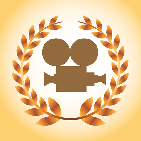 movie awards camera film degrade background vector illustration