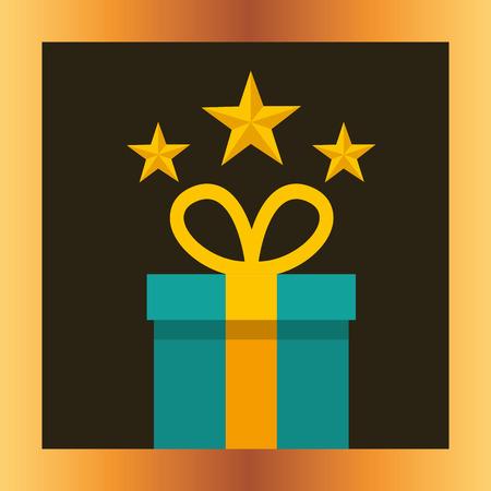 movie awards gift box stars frame background vector illustration