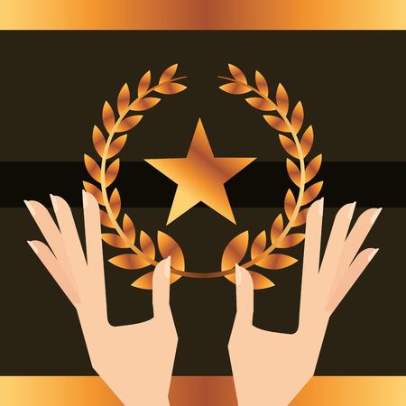 movie awards hand holding star prize vector illustration
