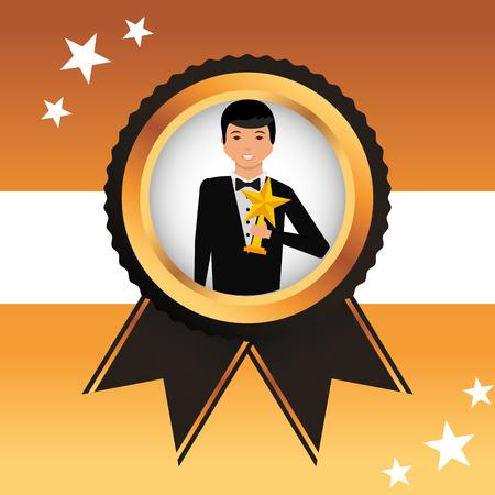 movie awards ensign man holding prize star vector illustration Illustration