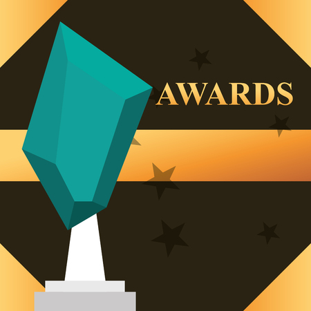 movie awards sign prize blue stone stars background vector illustration