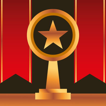 movie awards red ribbons star prize vector illustration