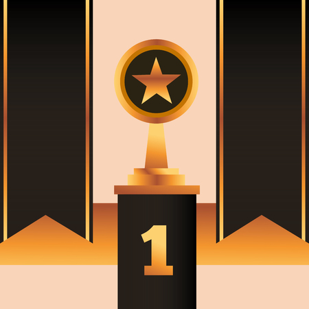 movie awards black ribbons number one star prize vector illustration