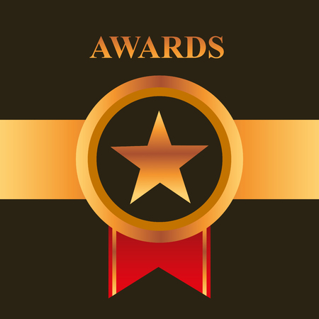 movie awards ribbon circle star vector illustration