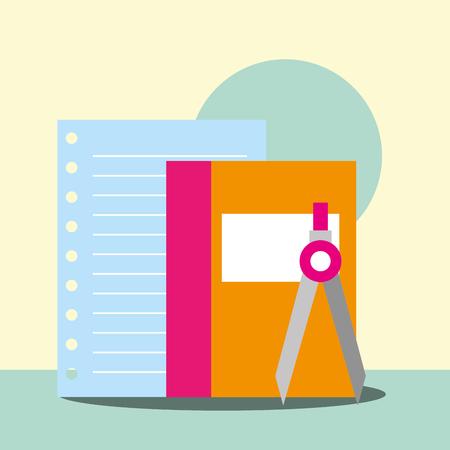 school supplies book compass paper vector illustration