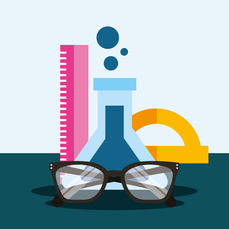 school supplies rules chemistry sciences glasses vector illustration Stock Vector - 109859676