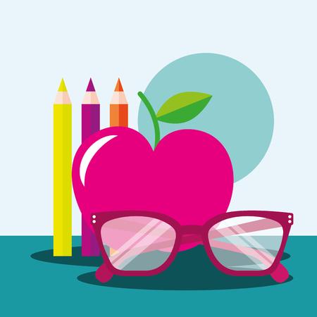 school supplies apple glasses image vector illustration
