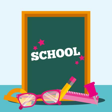 school supplies table sign pen rule glasses vector illustration