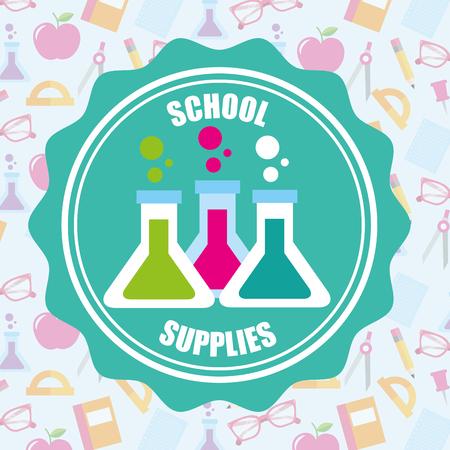 przybory szkolne naklejki chemia rury nauki backgorund ilustracji wektorowych