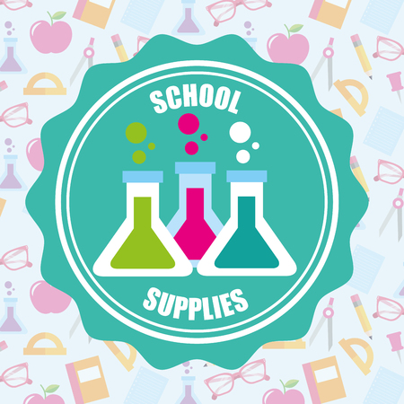 school supplies stickers chemistry tubes sciences backgorund vector illustration