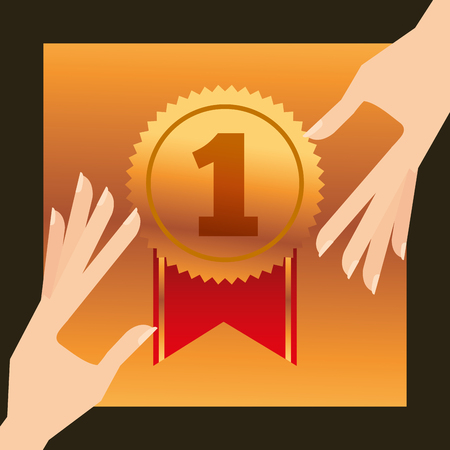 movie awards hands holding currency number one ribbon vector illustration