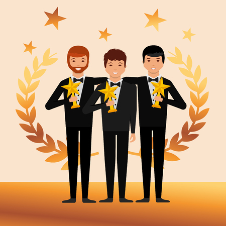 movie awards boys smiling holding stars prize winners vector illustration Ilustracja