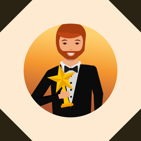movie awards frame circle man smiling holding star prize vector illustration Illusztráció