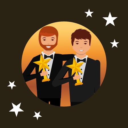 movie awards circle boys embraced smiling holding star prizes vector illustration Illustration