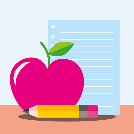 school supplies  pen paper apple vector illustration Иллюстрация