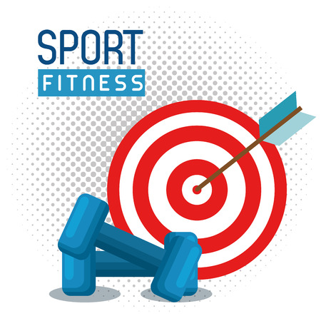 weight lifting with target sport fitness vector illustration design