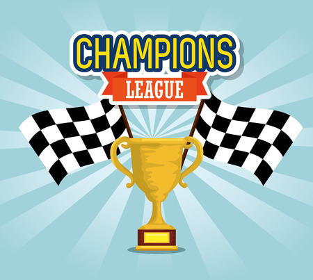 sport trophy cup champions with flags vector illustration design