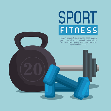 weight lifting dumbbells sport fitness vector illustration design