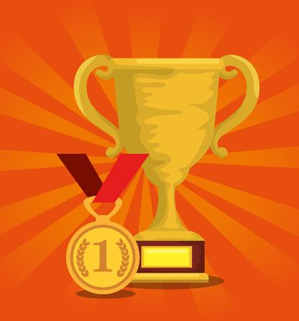 sport trophy cup champions with medal vector illustration design Illustration