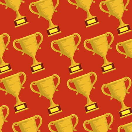 trophy cups sports pattern vector illustration design