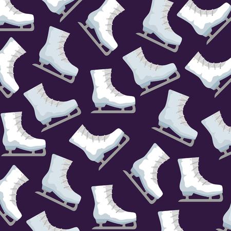 Patines de hielo deporte patrón diseño ilustración vectorial