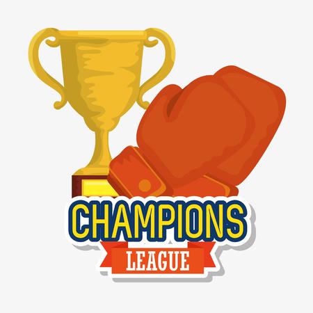 Campeones de la copa del trofeo deportivo con guantes de boxeo, diseño de ilustraciones vectoriales