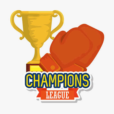 sport trophy cup champions with boxing gloves vector illustration design