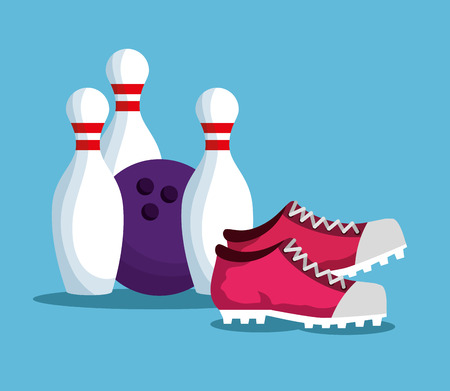 bowling champions league icons vector illustration design
