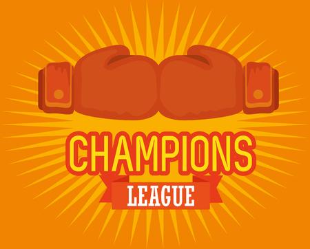 boxing sport champions league vector illustration design