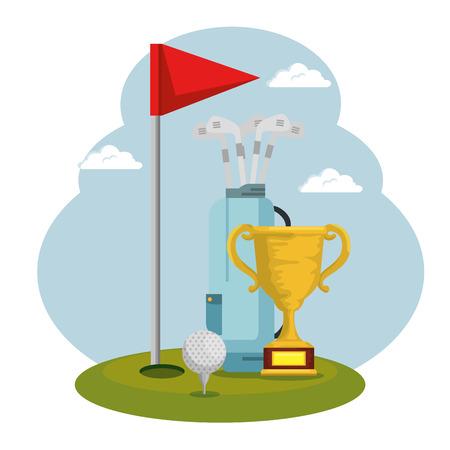 Diseño de ilustración de vector de icono de copa de trofeo de deporte de golf