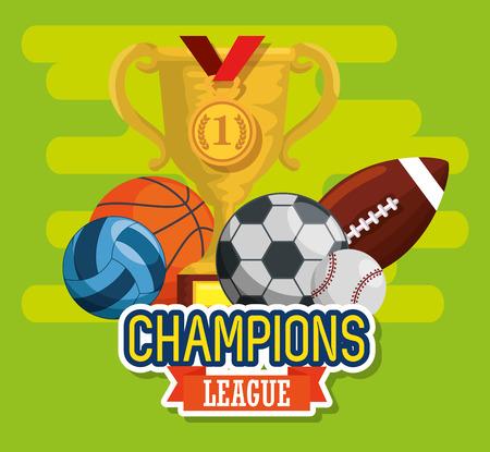 sports champions league set icons vector illustration design