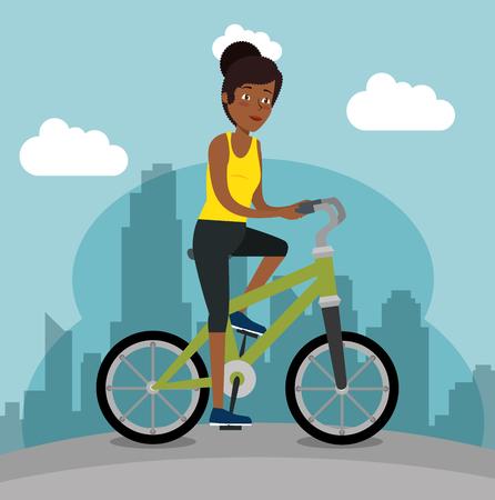 Joven mujer negra montando bicicleta, diseño de ilustraciones vectoriales