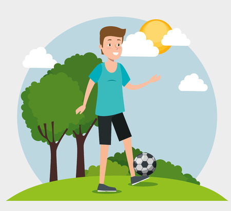young man practicing soccer vector illustration design Stock Illustratie
