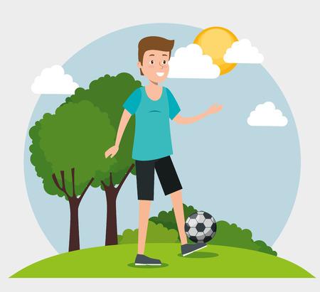 Joven practicando fútbol, diseño de ilustraciones vectoriales