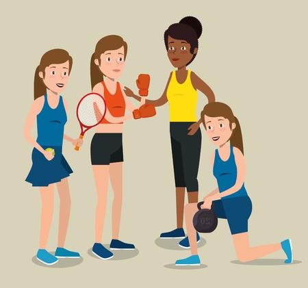 Grupo de atletas que practican deporte, diseño de ilustraciones vectoriales