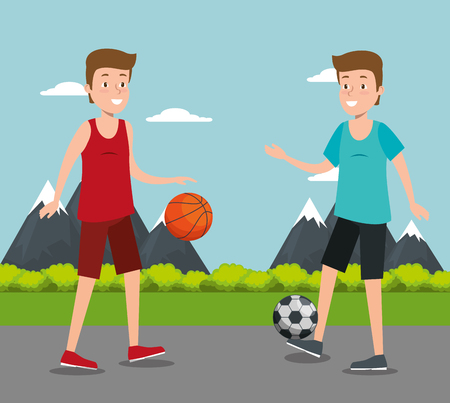 couple of athletes practicing sport vector illustration design