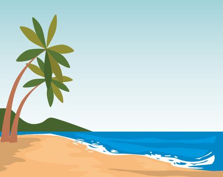 Diseño de ilustración de vector de icono de escena de paisaje marino de playa