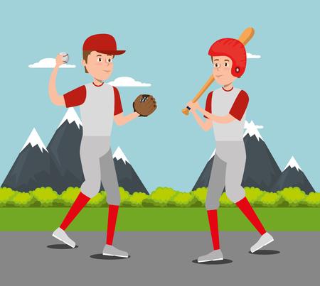team of athletes practicing baseball vector illustration design
