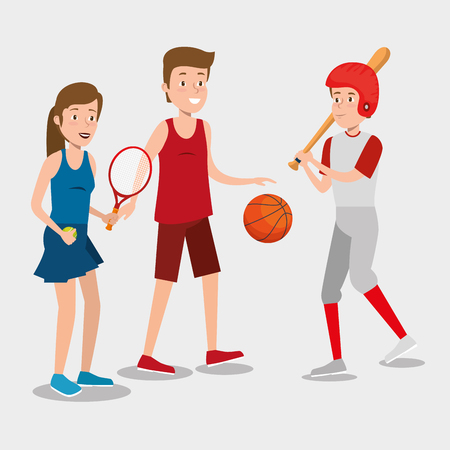 group of athletes practicing sport vector illustration design