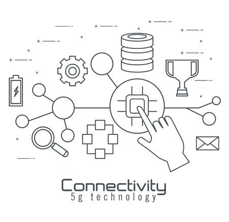 Conectividad 5g iconos de tecnología, diseño de ilustraciones vectoriales Ilustración de vector