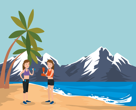 group of athletes practicing sport on the beach vector illustration design Ilustração