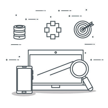laptop computer with connectivity 5g tech vector illustration design