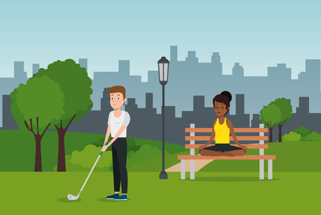 couple of athletes practicing sports on the park vector illustration design