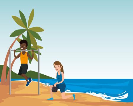 group of athletes practicing sport on the beach vector illustration design Ilustração
