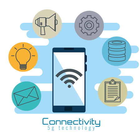 smartphone with connectivity 5g technology vector illustration design
