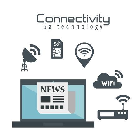 Ordinateur portable avec la connectivité 5g design illustration vectorielle tech